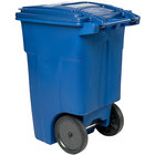 Toter ANA48-00BLU 48 Gallon Blue Rotational Molded Wheeled Rectangular Trash Can with Lid