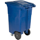 Toter ACC64-00BLU 64 Gallon Blue Rectangular Rotational Molded Wheeled Trash Can with Casters and Lid
