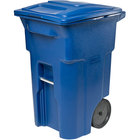 Toter ANA64-00BLU 64 Gallon Blue Rotational Molded Wheeled Rectangular Trash Can with Lid