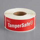 """TamperSafe 1"""" x 3"""" Customizable Red Paper Tamper-Evident Label - 250/Roll"""