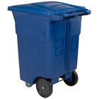 Toter ACC96-00BLU 96 Gallon Blue Rectangular Rotational Molded Wheeled Trash Can with Casters and Lid