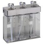 Dispenser Amenities 39334-R3-SPBX SOLera 45 oz. ABS Plastic Wall Mounted Adjustable 3-Chamber Locking Shower Dispenser with Rectangular Bottles and Soapbox Label