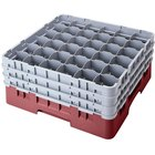 Cambro 36S900163 Red Camrack Customizable 36 Compartment 9 3/8 inch Glass Rack