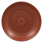 RAK Porcelain TRNNDP28BW Trinidad 11 inch Walnut and Black Deep Coupe Porcelain Plate - 12/Case
