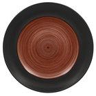 RAK Porcelain TRCLFP27BW Trinidad 10 5/8 inch Walnut and Black Wide Rim Flat Porcelain Plate - 12/Case