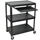 Luxor / H. Wilson AVJ42XLKB Adjustable Height 3 Shelf Black A/V Cart with Keyboard Shelf