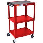Luxor AVJ42-RD Red 3 Shelf A/V Utility Cart 24 inch x 18 inch - Adjustable Height