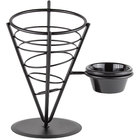 American Metalcraft FBS591 Black Wrought Iron Wire Fry Basket with Ramekin Holder - 5 inch x 9 inch