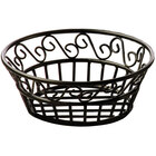American Metalcraft BLSB80 Ironworks Black Wrought Iron Round Scroll Bread Basket - 8 inch x 3 inch