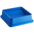 Lavex Janitorial 35 Gallon Blue Square Trash Can Swing Lid
