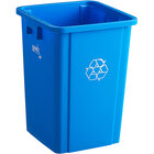 Lavex Janitorial 19 Gallon Blue Square Recycle Bin