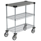 Metro CR1430DTOSC Drive-Thru Order Staging Prep Cart with Wire Shelving - 32 inch x 16 1/2 inch x 33 3/4 inch
