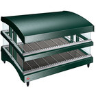 Hatco GR3SDS-39DCT Green Glo-Ray 39 inch Slanted Double Shelf Heated Glass Merchandising Warmer with Curved Top - 120/208-240V, 2130W