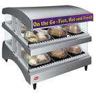 Hatco GR3SDS-27DCT Gray Glo-Ray 27 inch Slanted Double Shelf Heated Glass Merchandising Warmer with Curved Top - 120V, 1340W