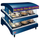 Hatco GR3SDS-27DCT Navy Glo-Ray 27 inch Slanted Double Shelf Heated Glass Merchandising Warmer with Curved Top - 120V, 1340W