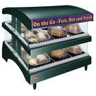 Hatco GR3SDS-27DCT Green Glo-Ray 27 inch Slanted Double Shelf Heated Glass Merchandising Warmer with Curved Top - 120V, 1340W