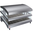 Hatco GR3SDS-39DCT Gray Glo-Ray 39 inch Slanted Double Shelf Heated Glass Merchandising Warmer with Curved Top - 120/208-240V, 2130W