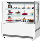 Turbo Air TBP60-54FN-W 59 inch Square Glass Three Tier White Refrigerated Bakery Display Case with Lift-Up Front Glass