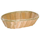 Tablecraft 1174W 9 inch x 6 inch x 2 1/4 inch Oval Natural-Colored Polypropylene / Steel Basket   - 12/Pack