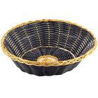Tablecraft 875B 8 inch x 2 inch Round Black Polypropylene Basket with Metallic Gold Vinyl Trim - 12/Pack