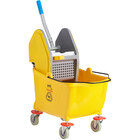 Lavex Janitorial 35 Qt. Yellow Mop Bucket and Down Press Wringer Combo