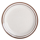 7 1/4 inch Brown Speckle Narrow Rim China Plate - 36/Case