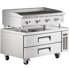 Cooking Performance Group CBR48 48 inch Gas Countertop Radiant Charbroiler and 2 Drawer Refrigerated Chef Base - 160,000 BTU