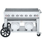 Crown Verity CV-CCB-48 Club Series 48 inch Outdoor Mobile Grill with 2 Horizontal Propane Tanks - 114,000 BTU