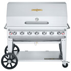 Crown Verity CV-RCB-48RDP-SI-BULK Pro Series 48 inch Outdoor Mobile Grill with Roll Dome, Bun Rack, and Bulk Tank Capacity - 114,000 BTU