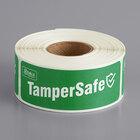 "TamperSafe 1"" x 3"" Customizable Green Paper Tamper-Evident Label - 250/Roll"