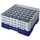 Cambro 49S638186 Navy Blue Camrack Customizable 49 Compartment 6 7/8 inch Glass Rack