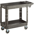 Lavex Industrial Medium Black 2-Shelf Utility Cart with Premium Handle and Built-In Tool Compartments - 40 11/16 inch x 16 7/8 inch x 33 1/2 inch