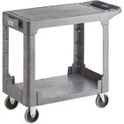 Lavex Industrial Medium Gray 2-Shelf Utility Cart with Flat Top and Built-In Tool Compartment - 38 inch x 18 3/4 inch x 32 1/4 inch