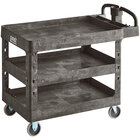 Lavex Industrial Large Black 3-Shelf Utility Cart with Ergonomic Handle and Built-In Tool Compartments - 43 1/8 inch x 24 5/8 inch x 38 1/8 inch