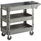 Lavex Industrial Medium Gray 3-Shelf Utility Cart with Premium Handle and Built-In Tool Compartments - 40 11/16 inch x 16 7/8 inch x 33 1/2 inch