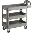Lavex Industrial Medium Gray 3-Shelf Utility Cart with Ergonomic Handle and Built-In Tool Compartments - 37 5/8 inch x 17 1/8 inch x 38 7/8 inch