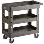 Lavex Industrial Medium Black 3-Shelf Utility Cart - 34 1/2 inch x 16 1/2 inch x 32 1/2 inch
