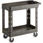 "Choice Medium Black 2-Shelf Utility Cart - 34 1/2"" x 16 1/2"" x 32 1/2"""