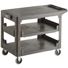 Lavex Industrial Large Black 3-Shelf Utility Cart with Flat Top and Built-In Tool Compartment - 44 inch x 25 1/4 inch x 32 1/4 inch
