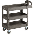 Lavex Industrial Medium Black 3-Shelf Utility Cart with Ergonomic Handle and Built-In Tool Compartments - 37 5/8 inch x 17 1/8 inch x 38 7/8 inch