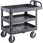 Lavex Industrial Large Black 3-Shelf Utility Cart with Ergonomic Handle, Built-In Tool Compartments, and Oversized Wheels