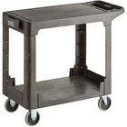 Lavex Industrial Medium Black 2-Shelf Utility Cart with Flat Top and Built-In Tool Compartment - 38 inch x 18 3/4 inch x 32 1/4 inch
