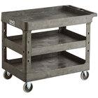 Lavex Industrial Large Black 3-Shelf Utility Cart - 40 3/4 inch x 25 1/2 inch x 33 1/2 inch