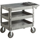 Lavex Industrial Large Gray 3-Shelf Utility Cart with Premium Handle, Built-In Tool Compartments, and Oversized Wheels - 46 3/4 inch x 25 1/2 inch x 33 1/2 inch