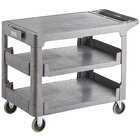 Lavex Industrial Large Gray 3-Shelf Utility Cart with Flat Top and Built-In Tool Compartment - 44 inch x 25 1/4 inch x 32 1/4 inch