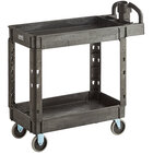Lavex Industrial Medium Black 2-Shelf Utility Cart with Ergonomic Handle and Built-In Tool Compartments - 37 5/8 inch x 17 1/8 inch x 38 7/8 inch