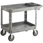 Lavex Industrial Large Gray 2-Shelf Utility Cart with Premium Handle, Built-In Tool Compartments, and Oversized Wheels - 46 3/4 inch x 25 1/2 inch x 33 1/2 inch