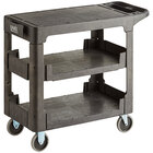Lavex Industrial Medium Black 3-Shelf Utility Cart with Flat Top and Built-In Tool Compartment - 38 inch x 18 3/4 inch x 32 1/4 inch
