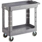 Lavex Industrial Medium Gray 2-Shelf Utility Cart - 34 1/2 inch x 16 1/2 inch x 32 1/2 inch