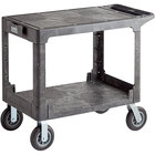 Lavex Industrial Large Black 2-Shelf Utility Cart with Flat Top, Built-In Tool Compartment, and Oversized Wheels